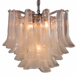 Giovanni Murano Glass White Chandelier
